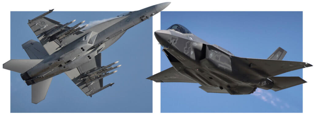 Boeing's F/A-18 Super Hornet, left, and Lockheed Martin's F-35